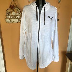 🌿Puma white sway zip up hoodie NWT XL🌿